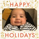 Asian baby boy on Happy Holidays card